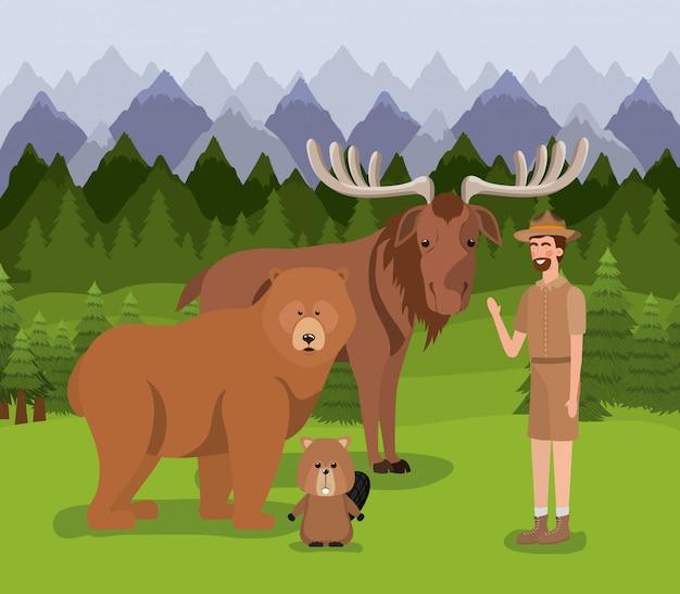 Castor de urso alce e ranger Vetor grátis