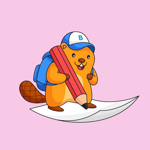 Castor escrever no papel usar lápis grande animal escola atividade esboço ilustração mascote Vetor Premium