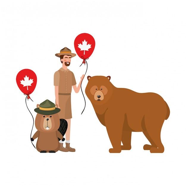 Castor, urso, animal, e, ranger, de, canadá Vetor grátis