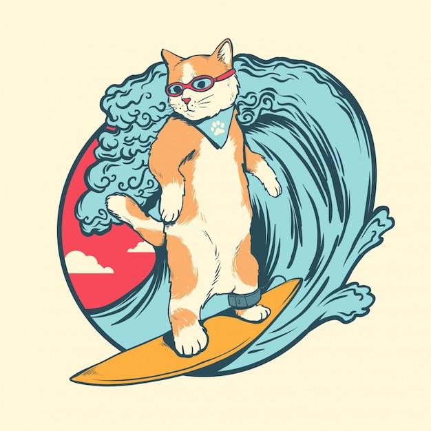 Cat surfing Vetor Premium
