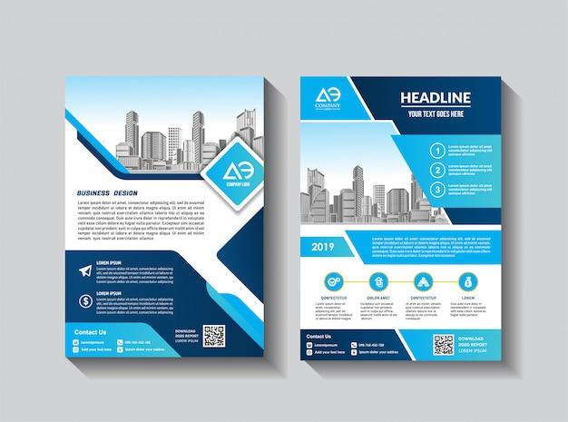 Catálogo de revista brochura de layout de capa para relatório anual Vetor Premium