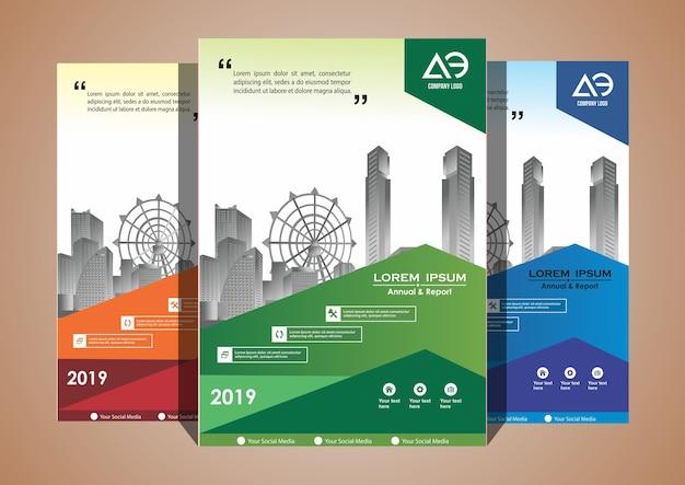 Catálogo de revistas brochura de layout de capa com 3 cores Vetor Premium