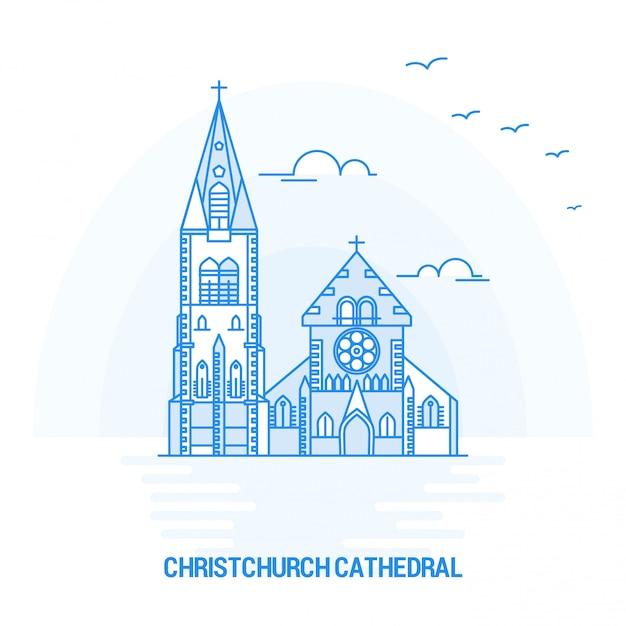 Catedral de christchurch blue landmark Vetor Premium