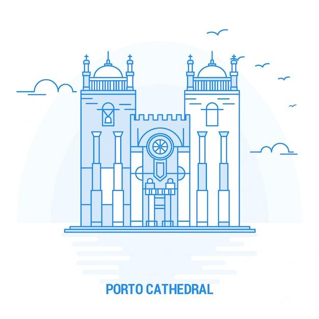 Catedral de porto blue landmark Vetor Premium