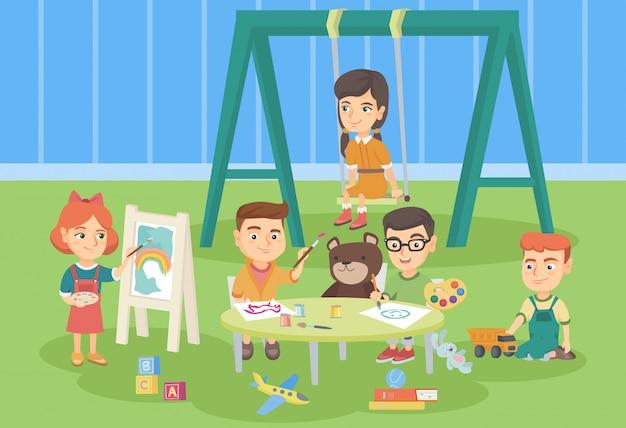 Caucasianas crianças brincando no playground. Vetor Premium