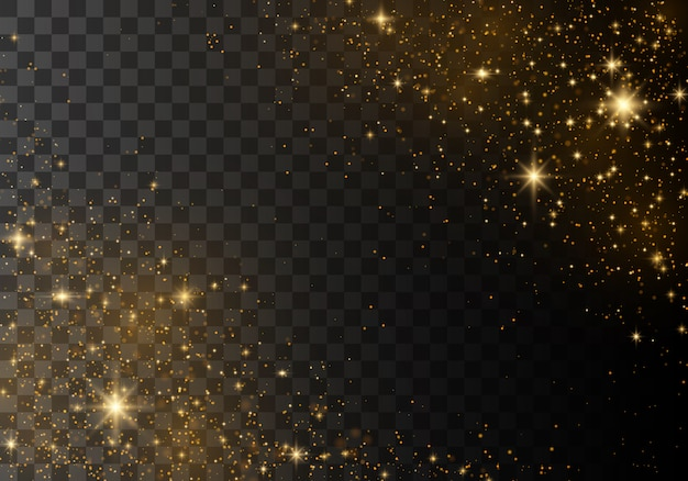 Cauda de cometa espumante dourada de vetor. Vetor Premium