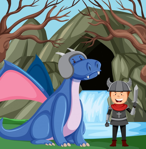 Cavaleiro com dragão na floresta Vetor grátis