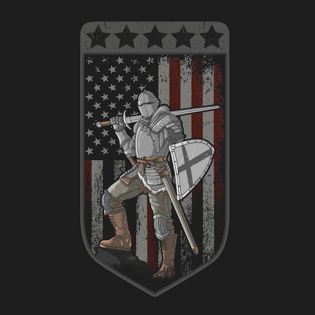 Cavaleiro com espada de armadura completa e escudo da bandeira americana Vetor Premium