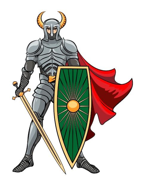 Cavaleiro de vetor de pé em um capacete com chifres com escudo e espada em um manto vermelho. ilustração vetorial Vetor grátis