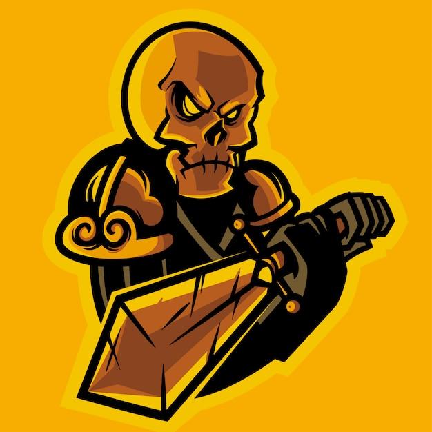 Cavaleiro do crânio segurando um logotipo de esports de espada Vetor Premium