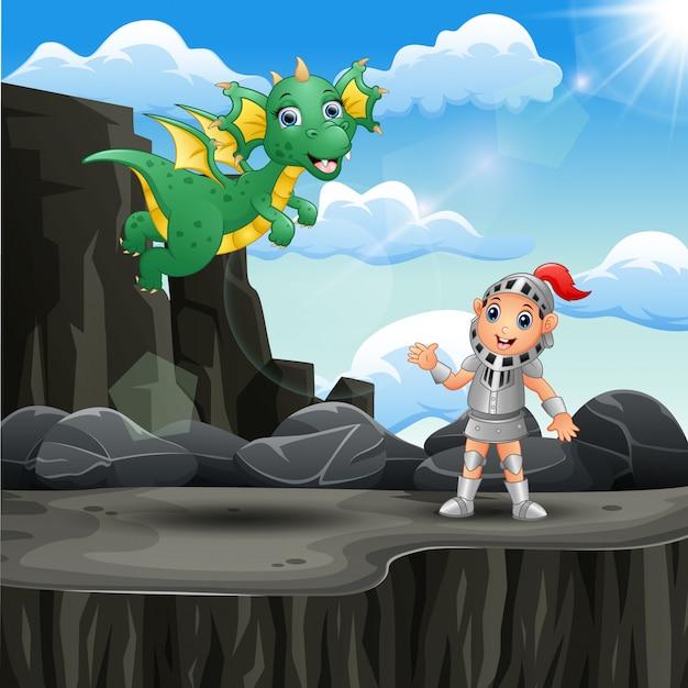 Cavaleiro dos desenhos animados e um dragão no penhasco da montanha Vetor Premium