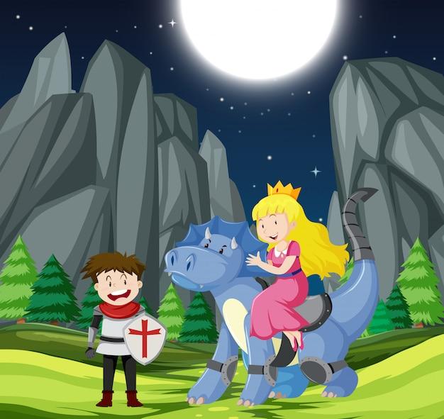 Cavaleiro e princesa na floresta Vetor grátis