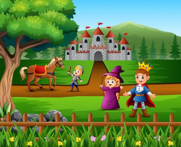 Cavaleiro lutando contra um cavalo para proteger o príncipe Vetor Premium