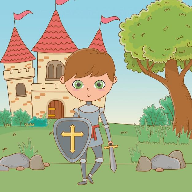 Cavaleiro medieval isolado Vetor grátis