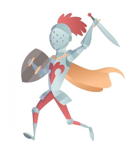 Cavaleiro medieval na ilustração plana de armadura completa. a caricatura cômica. cavaleiro engraçado dos desenhos animados. Vetor Premium