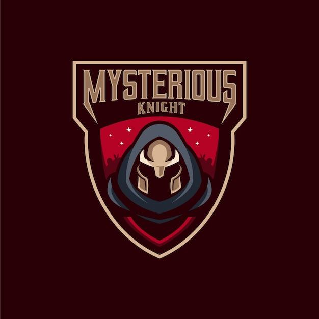 Cavaleiro misterioso logo Vetor Premium