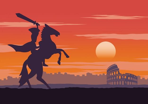 Cavaleiro ter saido vitorioso, andar a cavalo por perto coliseu Vetor Premium