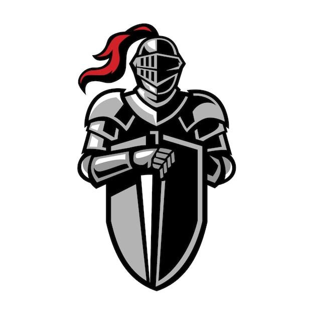 Cavaleiros emblema logo design Vetor Premium
