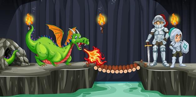 Cavaleiros lutam com dragão na caverna escura Vetor Premium