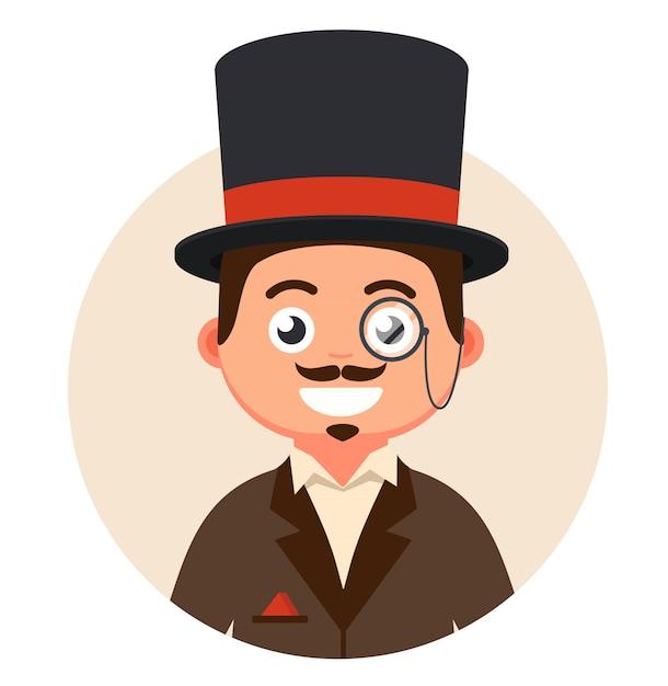 Cavalheiro de cartola e óculos em uma ilustração de bolha Vetor Premium