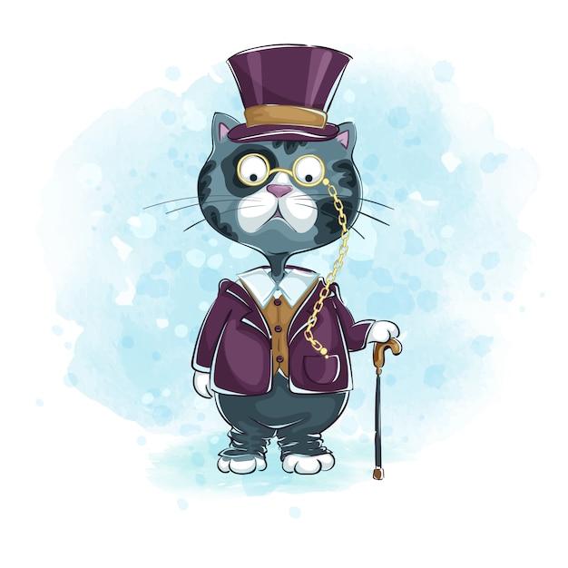 Cavalheiro de gato cinzento em um chapéu-topper, chinned pince-nez com uma bengala. Vetor Premium