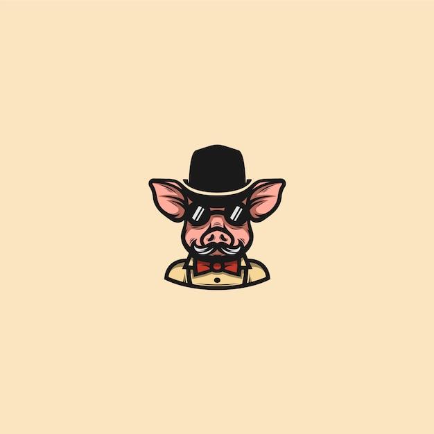 Cavalheiro de porco clip-art Vetor Premium