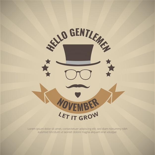 Cavalheiros elegantes poster movember Vetor grátis