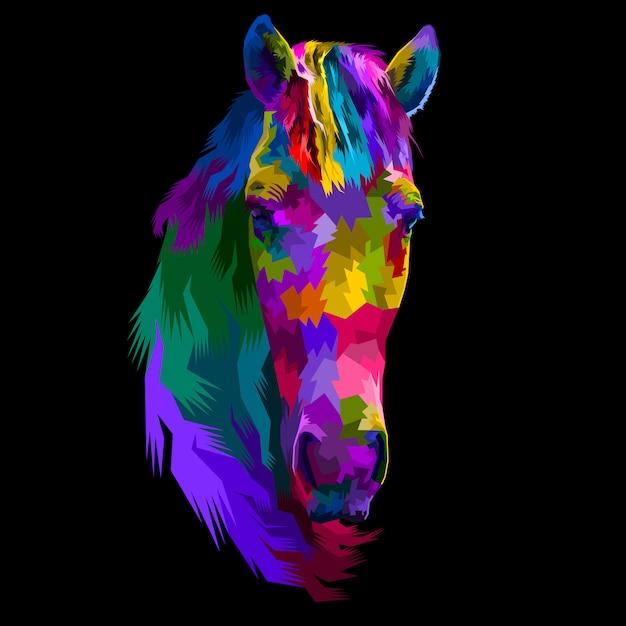 Cavalo cabeça colorida Vetor Premium