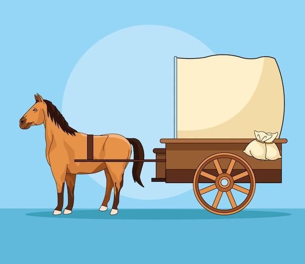 Cavalo com veículo antigo de carruagem Vetor Premium