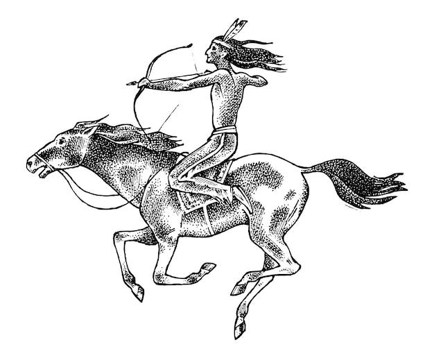 Cavalo de equitação indiano americano nacional com lança na mão. homem tradicional. mão gravada desenhada no desenho antigo. Vetor Premium