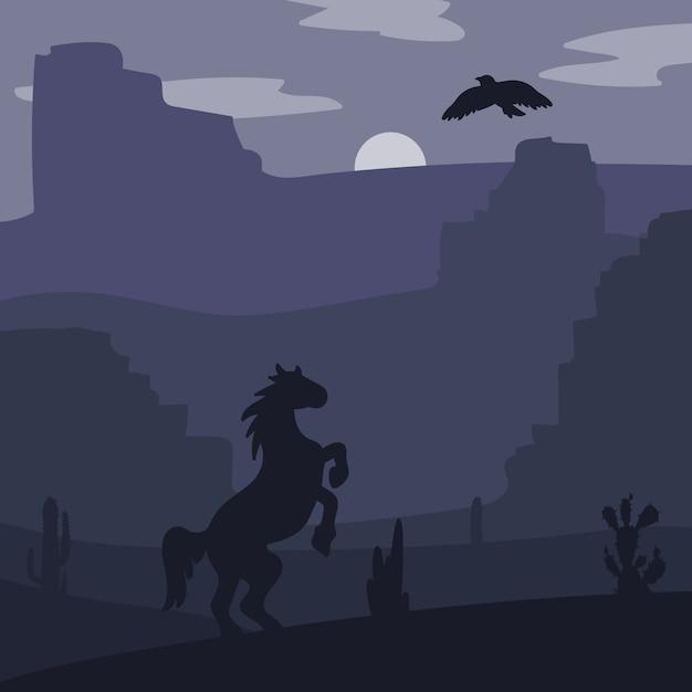 Cavalo de galope retrô selvagem no deserto Vetor Premium