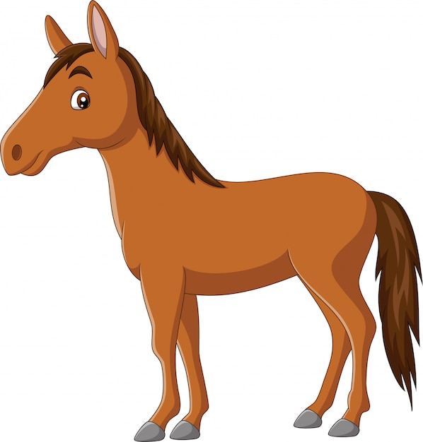 Cavalo feliz dos desenhos animados sobre fundo branco Vetor Premium