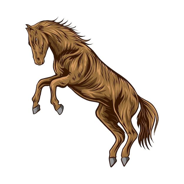 Cavalo ilustração isolado fundo branco Vetor Premium