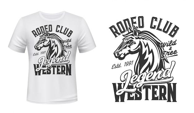 Cavalo mustang mascote garanhão de vetor com estampa de camiseta Vetor Premium