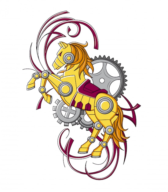 Cavalo no estilo de steampunk mecânica Vetor Premium