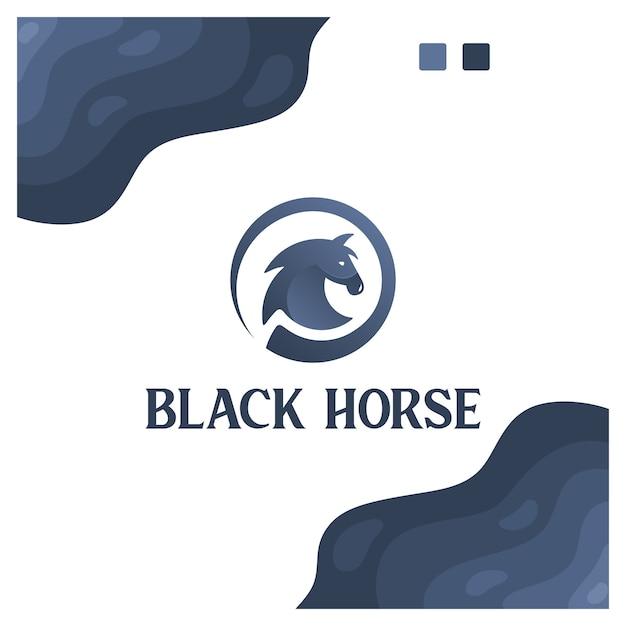 Cavalo preto, esporte, poder, inspiração de design de logotipo Vetor Premium