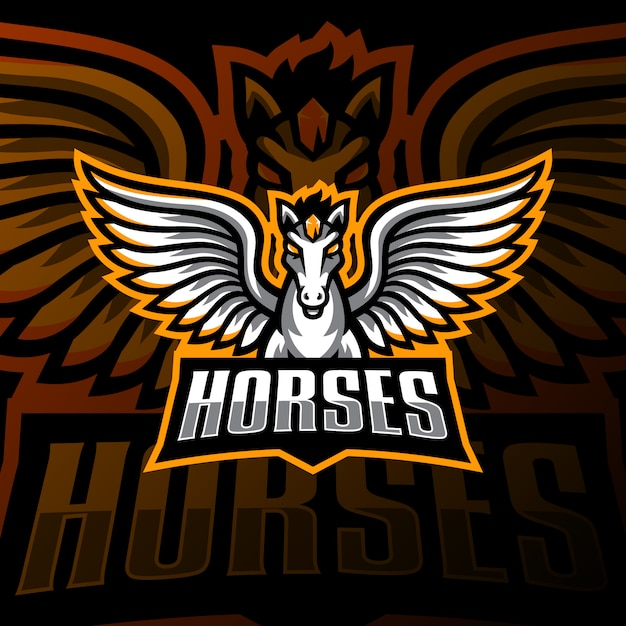 Cavalo voador mascote logotipo esport jogos Vetor Premium