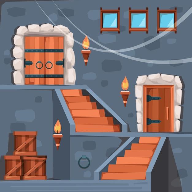 Cave do castelo. interior da cripta escura da entrada da prisão antiga com portas e imagem plana de pedra da escada. pedra medieval do jogo do castelo, ilustração da arquitetura do palácio Vetor Premium