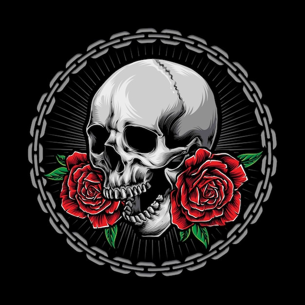 Caveira com logotipo de rosas Vetor grátis