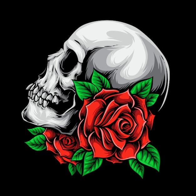Caveira com rosas Vetor Premium