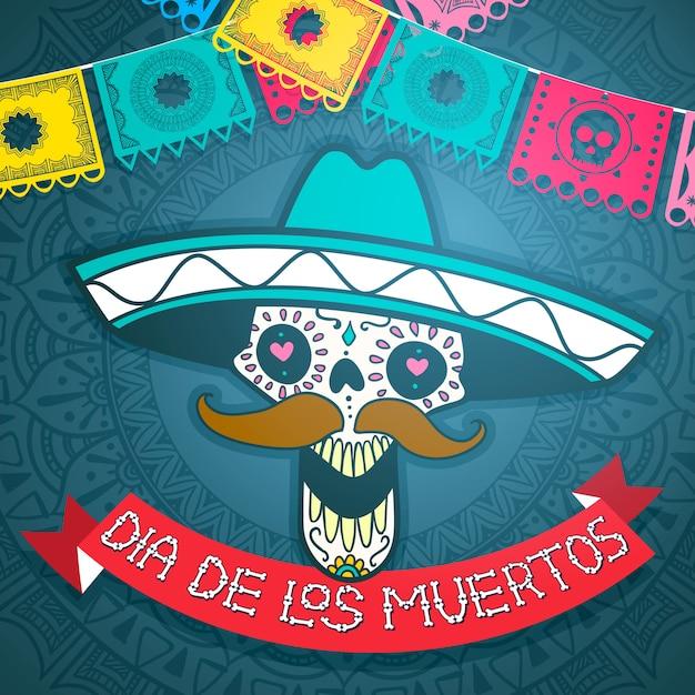 Caveira de açúcar mexicano, dia da ilustração morta Vetor Premium