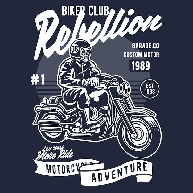 Caveira de motociclista Vetor Premium