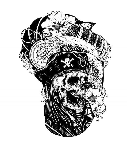 Caveira de pirata com tatuagem de vetor de navio à mão de desenho. Vetor Premium