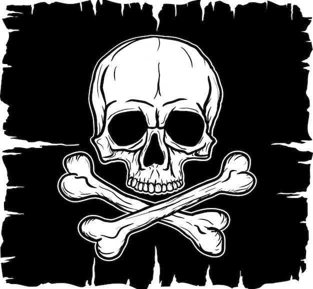 Caveira e ossos cruzados sobre a bandeira negra Vetor Premium