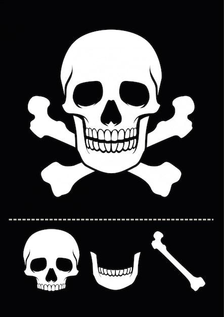 Caveira e ossos cruzados Vetor Premium