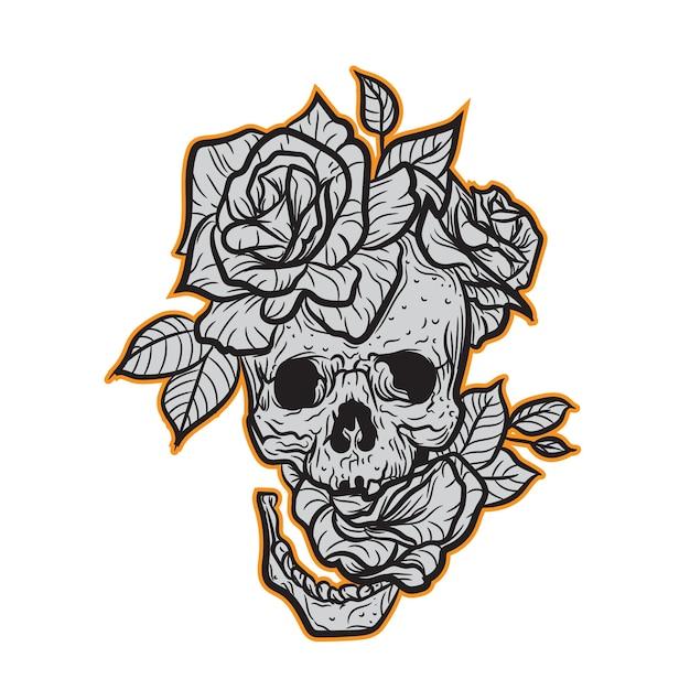 Caveira E Rosas Para O Projeto Da Camiseta Vetor Premium