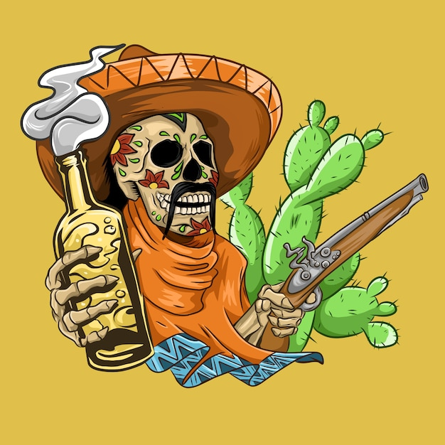 Caveira mexicana com sombrero, armas e cerveja Vetor Premium