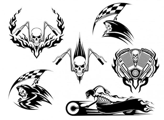 Caveira, motocicleta e conjunto de ícones tribais Vetor Premium
