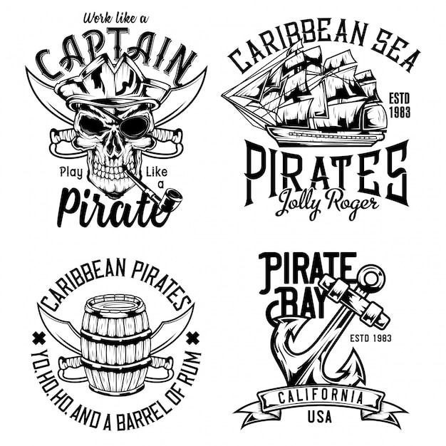 Caveira pirata, barril de rum, veleiro e âncora Vetor Premium