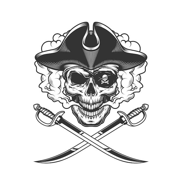 Caveira pirata com tapa-olho Vetor grátis